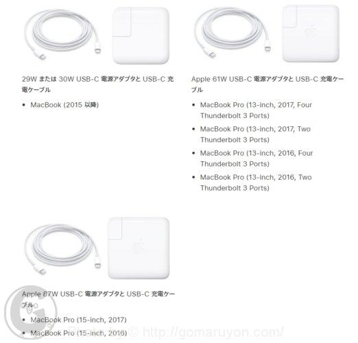 MacBookの電源アダプタのワット数